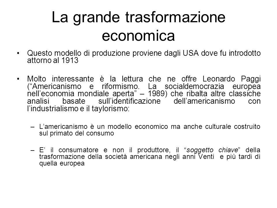 La grande trasformazione economica Questo modello di produzione proviene dagli USA dove fu introdotto attorno al 1913 Molto interessante è la lettura