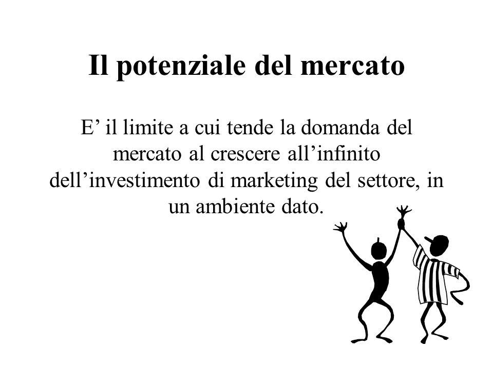 Il potenziale del mercato E il limite a cui tende la domanda del mercato al crescere allinfinito dellinvestimento di marketing del settore, in un ambiente dato.
