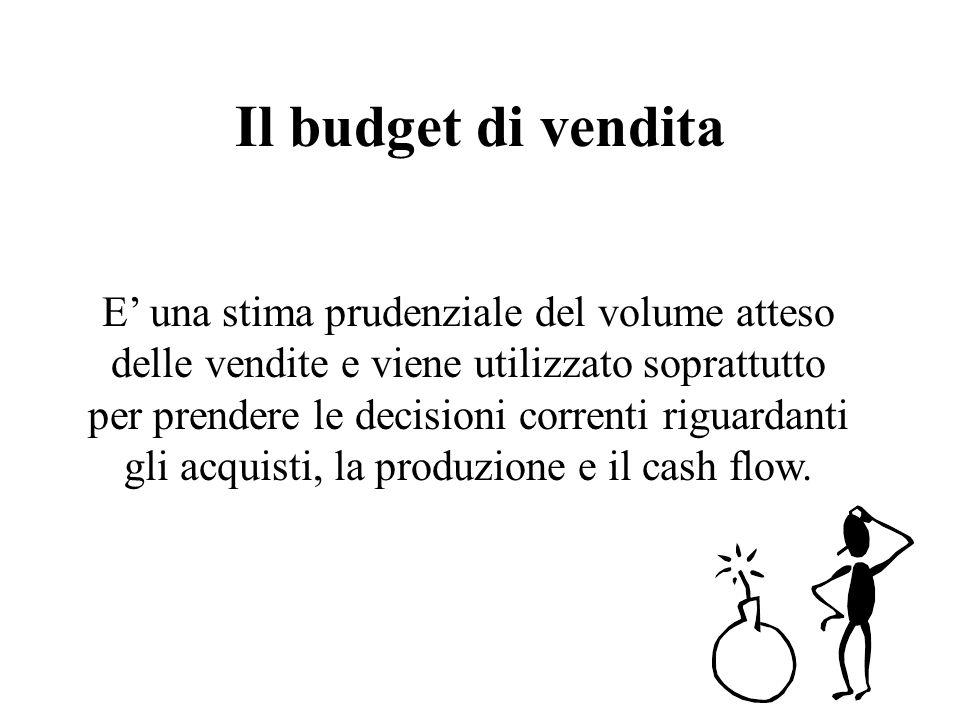 Il budget di vendita E una stima prudenziale del volume atteso delle vendite e viene utilizzato soprattutto per prendere le decisioni correnti riguardanti gli acquisti, la produzione e il cash flow.