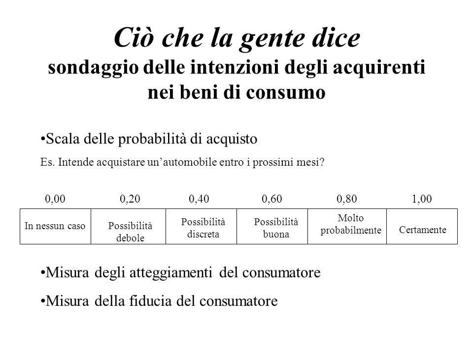Ciò che la gente dice sondaggio delle intenzioni degli acquirenti nei beni di consumo Scala delle probabilità di acquisto Es.