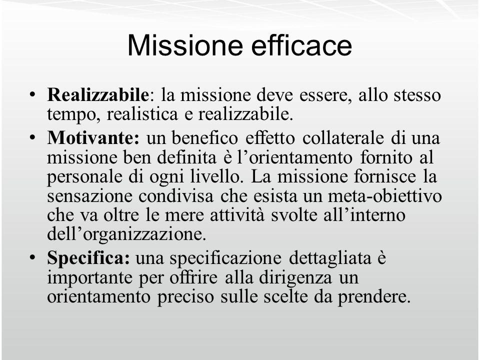 Missione efficace Realizzabile: la missione deve essere, allo stesso tempo, realistica e realizzabile. Motivante: un benefico effetto collaterale di u