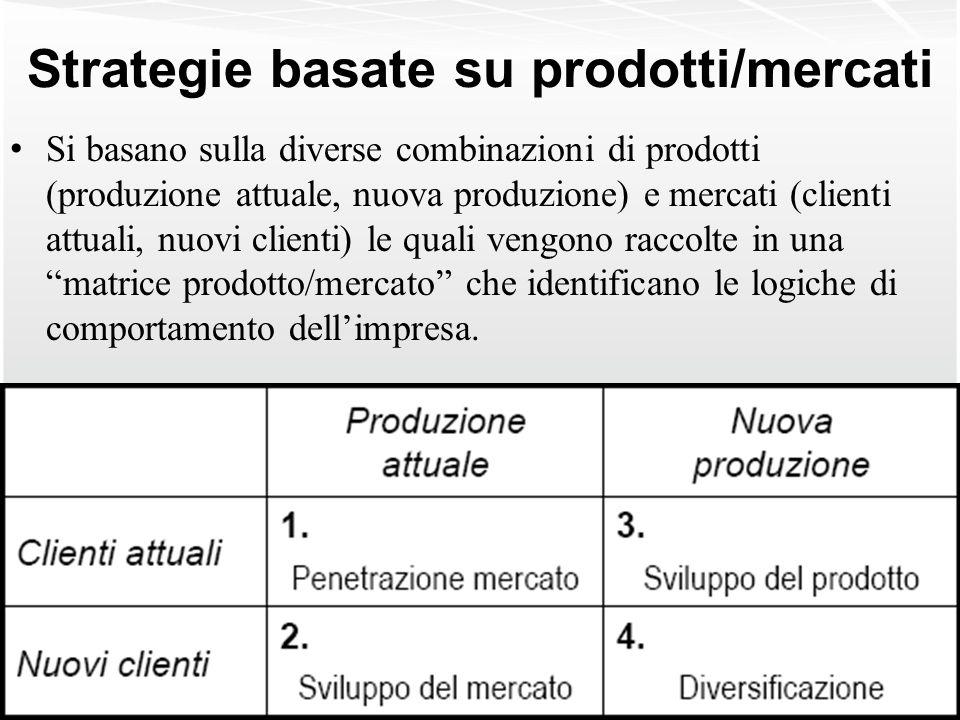 Strategie basate su prodotti/mercati Si basano sulla diverse combinazioni di prodotti (produzione attuale, nuova produzione) e mercati (clienti attual