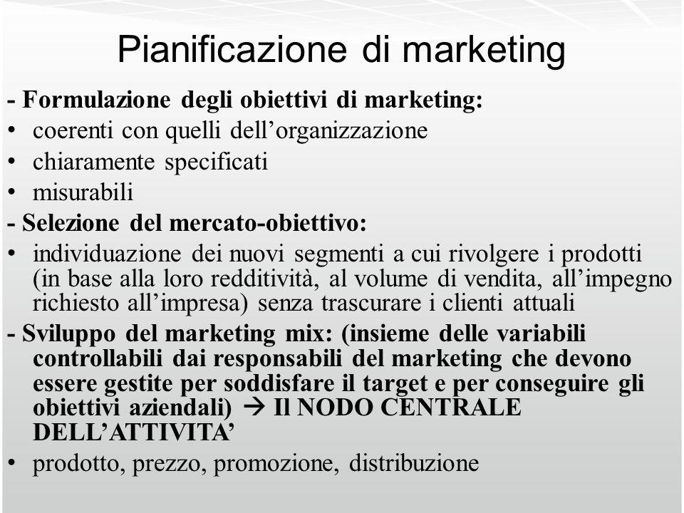 Pianificazione di marketing - Formulazione degli obiettivi di marketing: coerenti con quelli dellorganizzazione chiaramente specificati misurabili - S