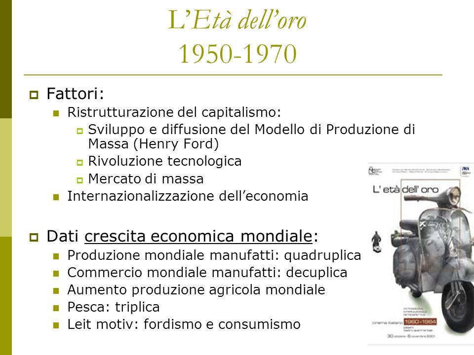 LEtà delloro 1950-1970 Fattori: Ristrutturazione del capitalismo: Sviluppo e diffusione del Modello di Produzione di Massa (Henry Ford) Rivoluzione te