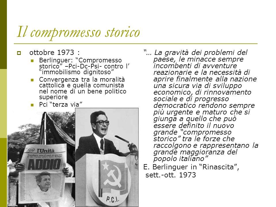 Il compromesso storico ottobre 1973 : Berlinguer: Compromesso storico –Pci-Dc-Psi- contro l immobilismo dignitoso Convergenza tra la moralità cattolic