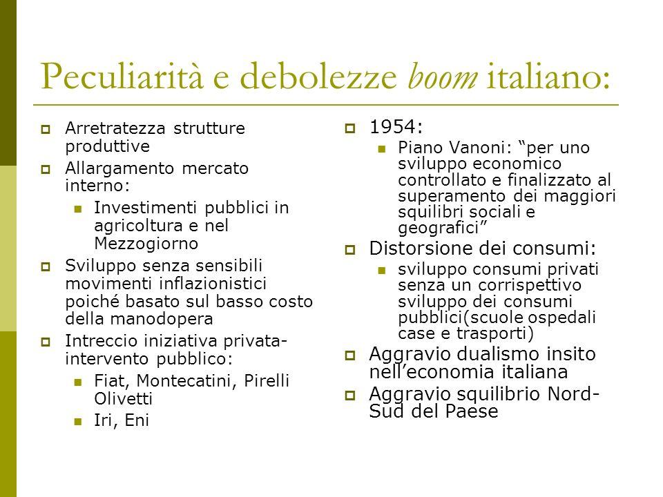 Peculiarità e debolezze boom italiano: Arretratezza strutture produttive Allargamento mercato interno: Investimenti pubblici in agricoltura e nel Mezz