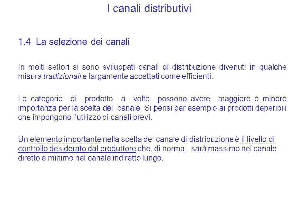 I canali distributivi 1.4 La selezione dei canali In molti settori si sono sviluppati canali di distribuzione divenuti in qualche misura tradizionali e largamente accettati come efficienti.