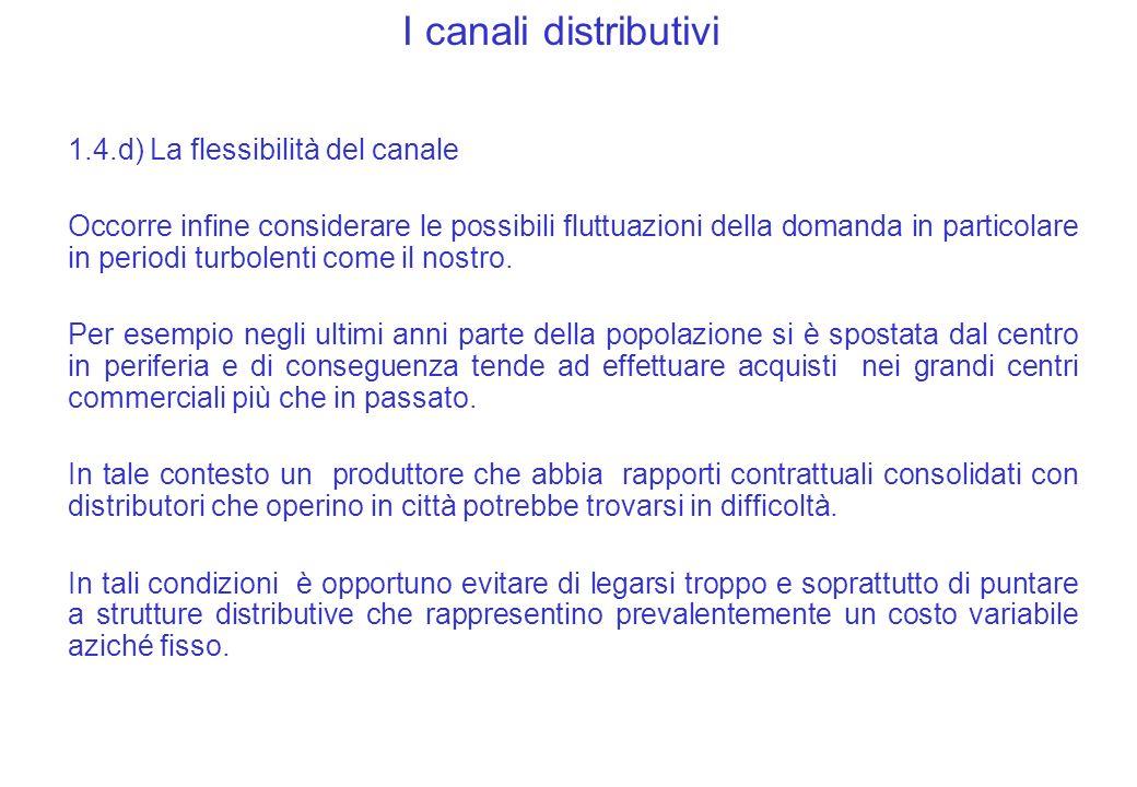 I canali distributivi 1.4.d) La flessibilità del canale Occorre infine considerare le possibili fluttuazioni della domanda in particolare in periodi turbolenti come il nostro.
