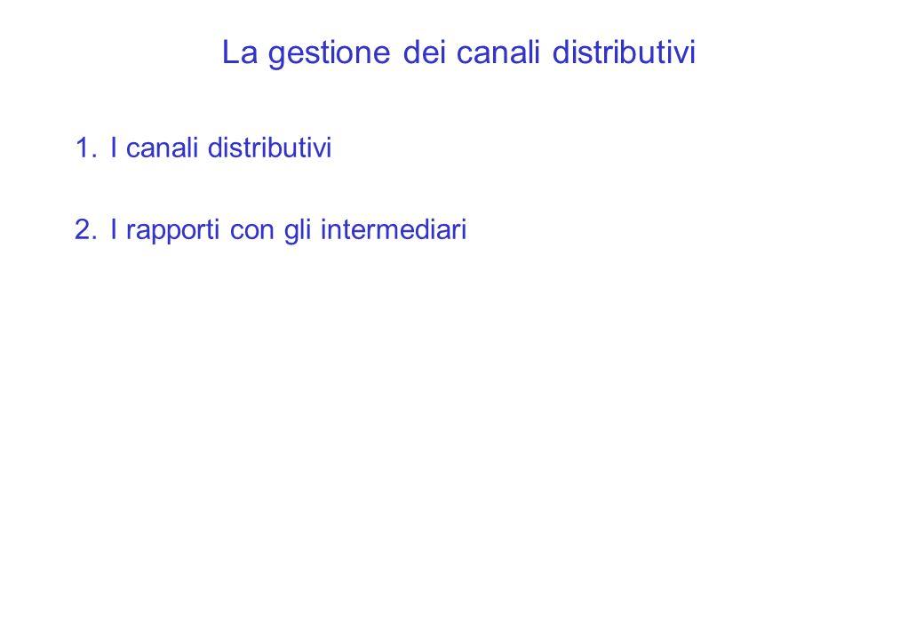 1.I canali distributivi 2.I rapporti con gli intermediari