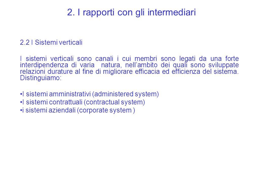 2. I rapporti con gli intermediari 2.2 I Sistemi verticali I sistemi verticali sono canali i cui membri sono legati da una forte interdipendenza di va