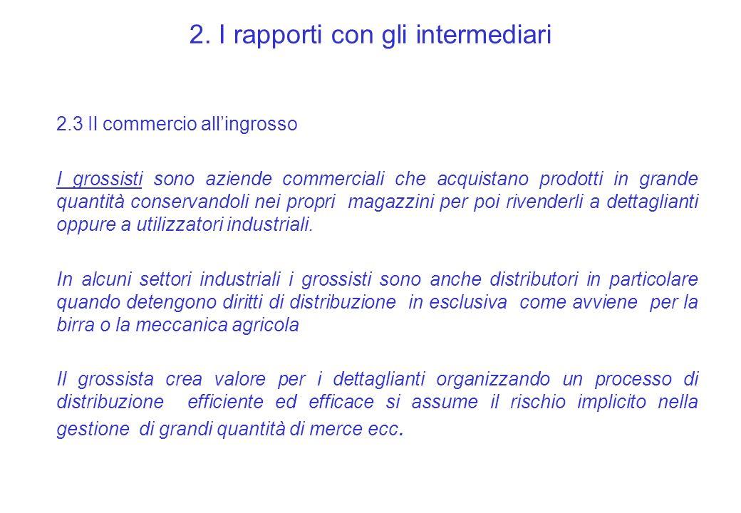 2. I rapporti con gli intermediari 2.3 Il commercio allingrosso I grossisti sono aziende commerciali che acquistano prodotti in grande quantità conser