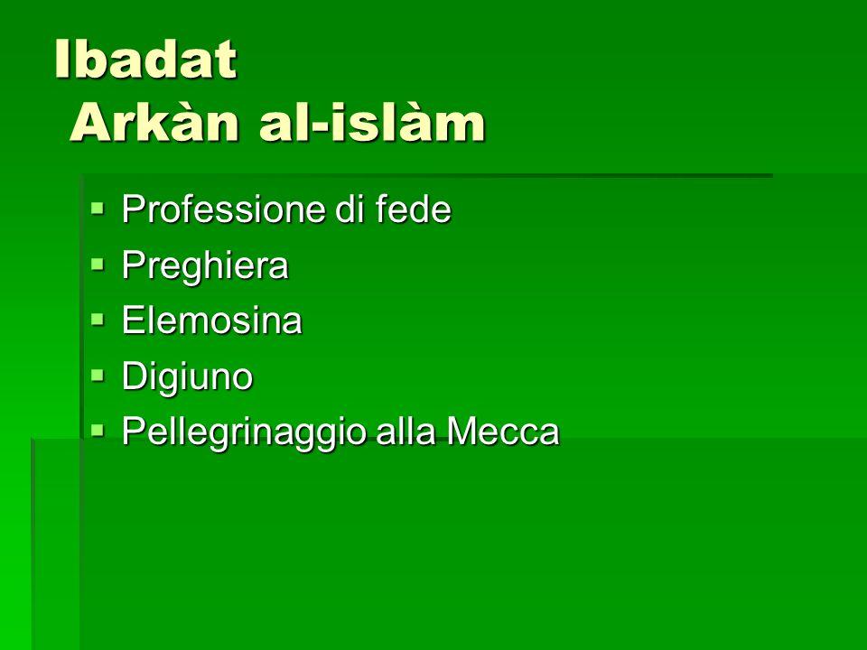 Ibadat Arkàn al-islàm Professione di fede Professione di fede Preghiera Preghiera Elemosina Elemosina Digiuno Digiuno Pellegrinaggio alla Mecca Pelleg