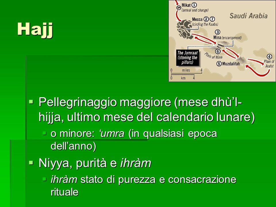 Hajj Pellegrinaggio maggiore (mese dhùl- hijja, ultimo mese del calendario lunare) Pellegrinaggio maggiore (mese dhùl- hijja, ultimo mese del calendar