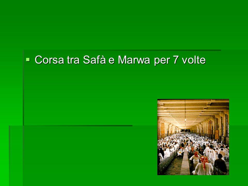Corsa tra Safà e Marwa per 7 volte Corsa tra Safà e Marwa per 7 volte