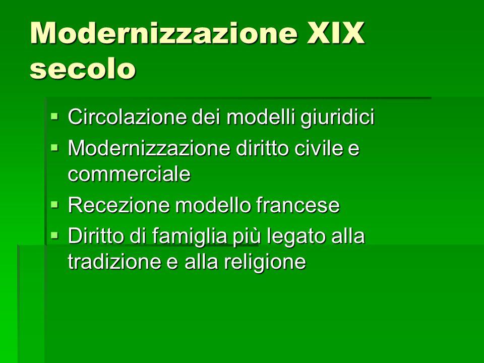 Modernizzazione XIX secolo Circolazione dei modelli giuridici Circolazione dei modelli giuridici Modernizzazione diritto civile e commerciale Moderniz