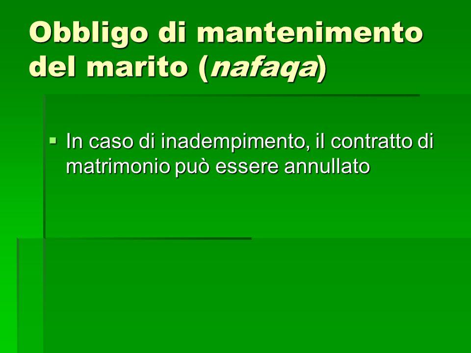 Obbligo di mantenimento del marito (nafaqa) In caso di inadempimento, il contratto di matrimonio può essere annullato In caso di inadempimento, il con
