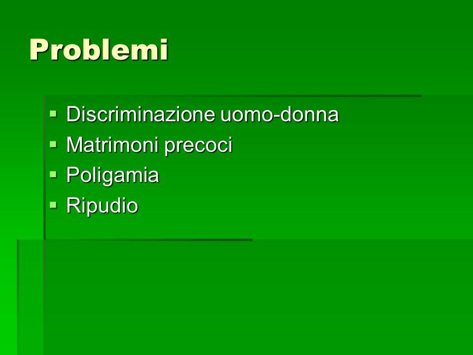 Problemi Discriminazione uomo-donna Discriminazione uomo-donna Matrimoni precoci Matrimoni precoci Poligamia Poligamia Ripudio Ripudio