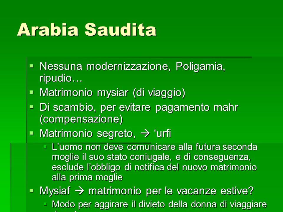 Arabia Saudita Nessuna modernizzazione, Poligamia, ripudio… Nessuna modernizzazione, Poligamia, ripudio… Matrimonio mysiar (di viaggio) Matrimonio mys