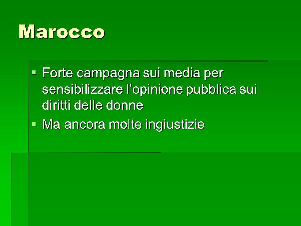 Marocco Forte campagna sui media per sensibilizzare lopinione pubblica sui diritti delle donne Forte campagna sui media per sensibilizzare lopinione p