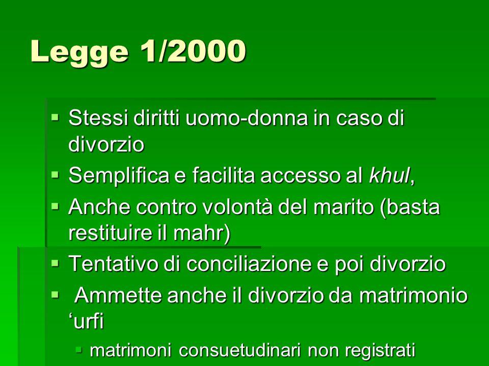Legge 1/2000 Stessi diritti uomo-donna in caso di divorzio Stessi diritti uomo-donna in caso di divorzio Semplifica e facilita accesso al khul, Sempli