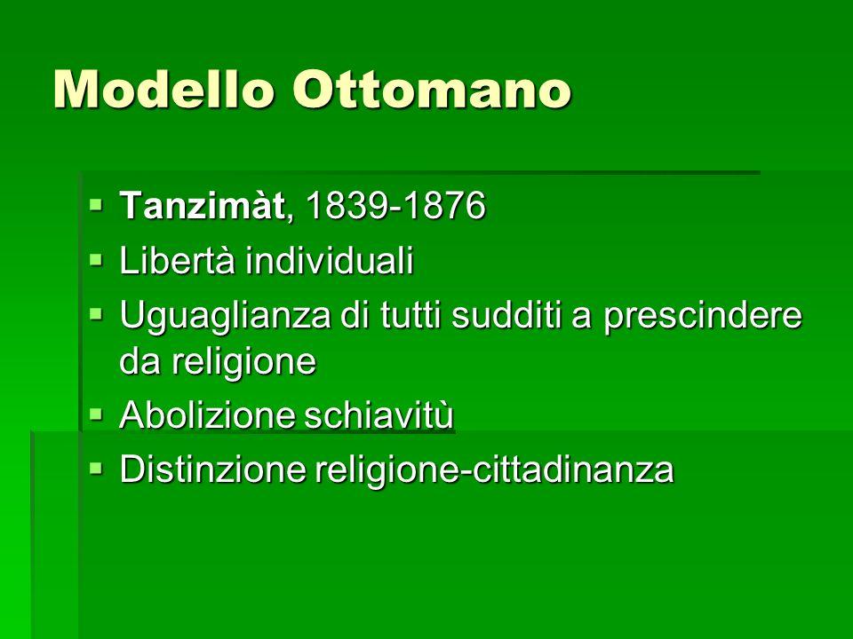 Modello Ottomano Tanzimàt, 1839-1876 Tanzimàt, 1839-1876 Libertà individuali Libertà individuali Uguaglianza di tutti sudditi a prescindere da religio