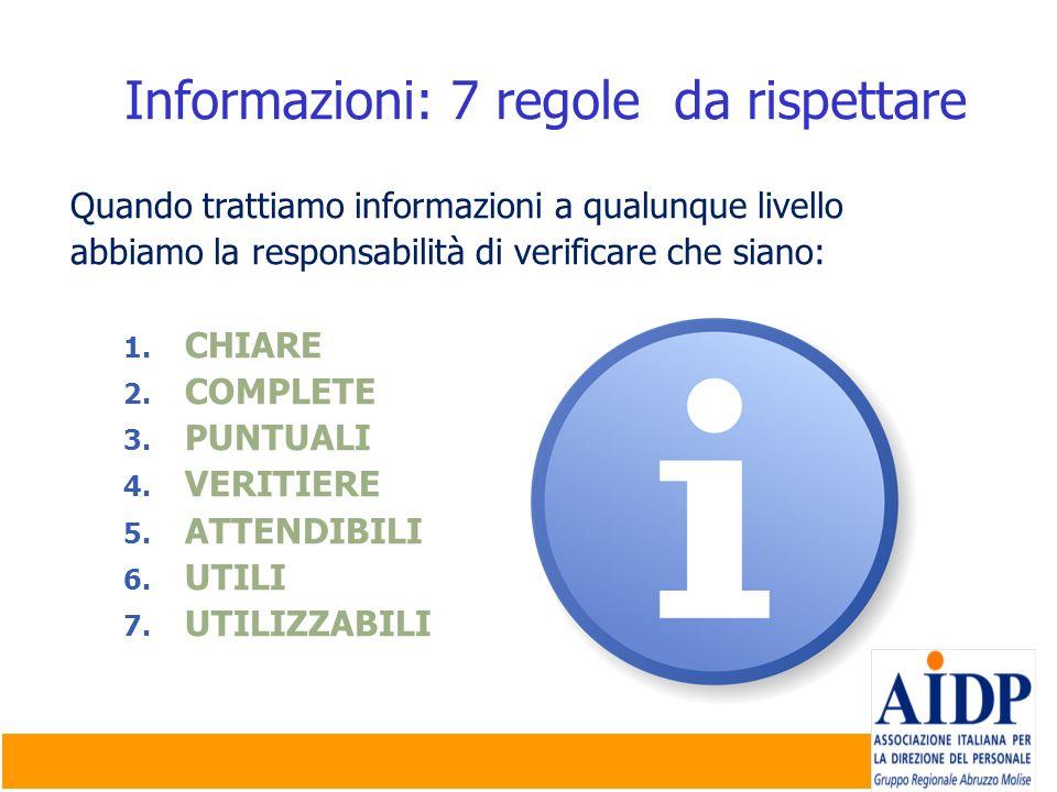 Informazioni: 7 regole da rispettare Quando trattiamo informazioni a qualunque livello abbiamo la responsabilità di verificare che siano: 1. CHIARE 2.