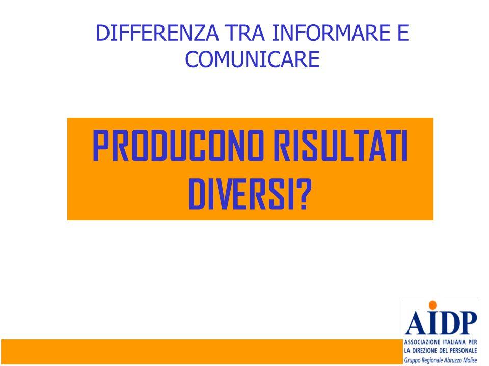 DIFFERENZA TRA INFORMARE E COMUNICARE PRODUCONO RISULTATI DIVERSI?