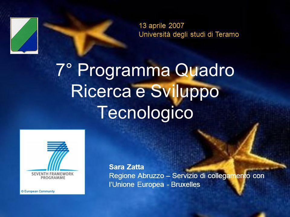 7° Programma Quadro Ricerca e Sviluppo Tecnologico 13 aprile 2007 Università degli studi di Teramo Sara Zatta Regione Abruzzo – Servizio di collegamento con lUnione Europea - Bruxelles