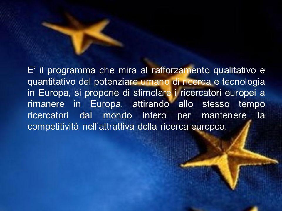 E il programma che mira al rafforzamento qualitativo e quantitativo del potenziare umano di ricerca e tecnologia in Europa, si propone di stimolare i ricercatori europei a rimanere in Europa, attirando allo stesso tempo ricercatori dal mondo intero per mantenere la competitività nellattrattiva della ricerca europea.