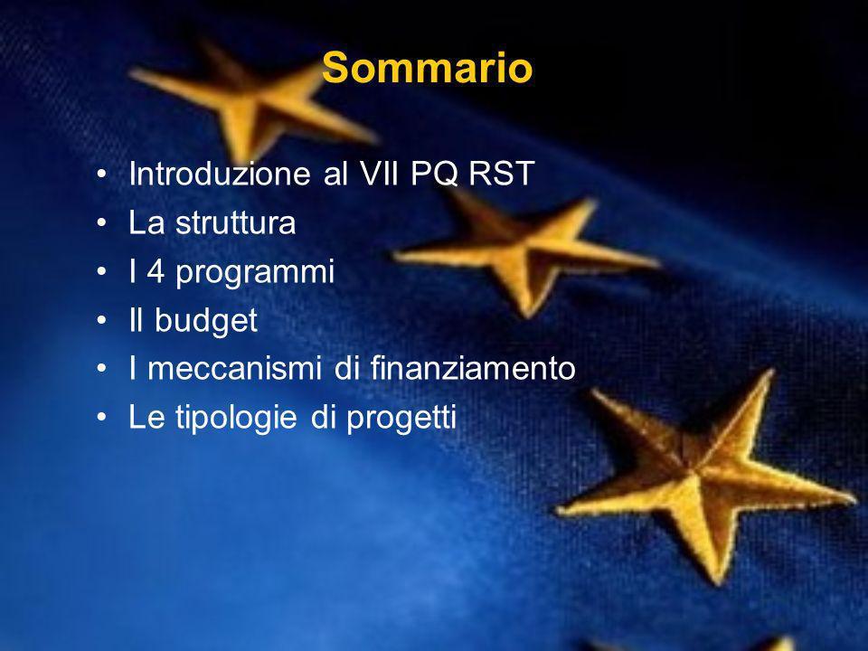 Sommario Introduzione al VII PQ RST La struttura I 4 programmi Il budget I meccanismi di finanziamento Le tipologie di progetti