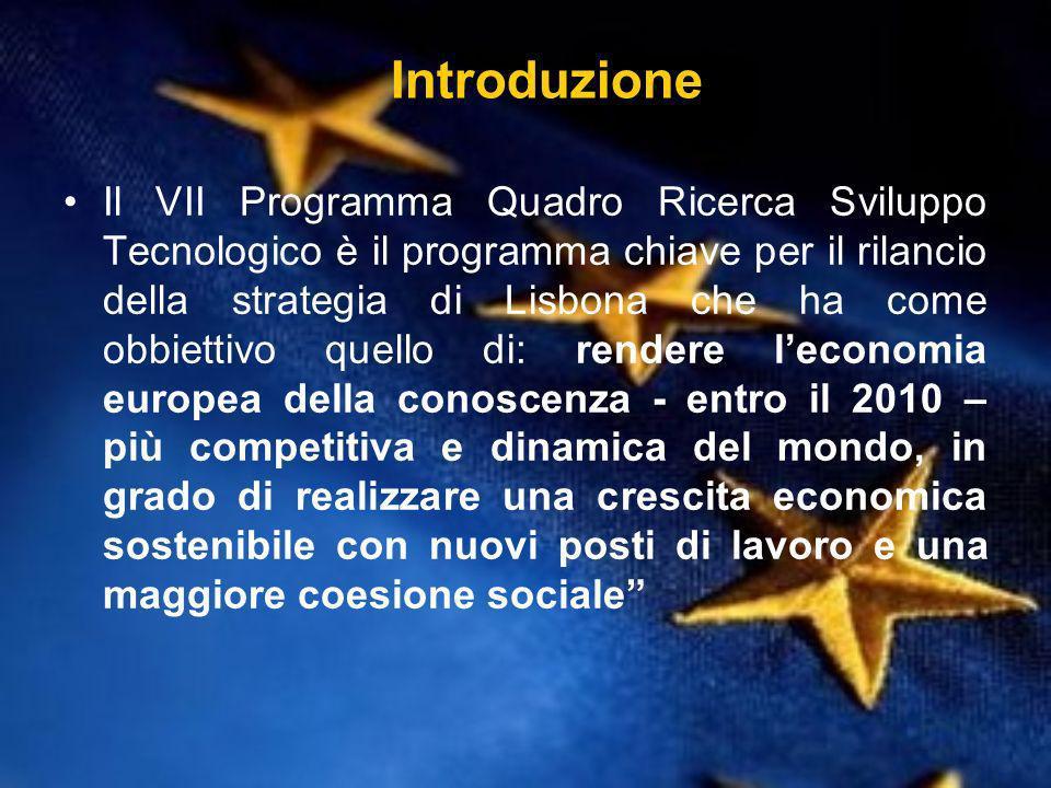 Introduzione Il VII Programma Quadro Ricerca Sviluppo Tecnologico è il programma chiave per il rilancio della strategia di Lisbona che ha come obbiettivo quello di: rendere leconomia europea della conoscenza - entro il 2010 – più competitiva e dinamica del mondo, in grado di realizzare una crescita economica sostenibile con nuovi posti di lavoro e una maggiore coesione sociale