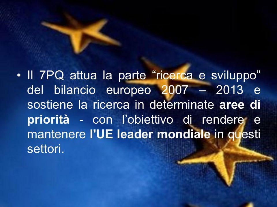 Il 7PQ attua la parte ricerca e sviluppo del bilancio europeo 2007 – 2013 e sostiene la ricerca in determinate aree di priorità - con lobiettivo di rendere e mantenere l UE leader mondiale in questi settori.