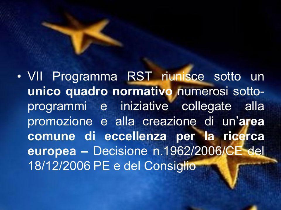 VII Programma RST riunisce sotto un unico quadro normativo numerosi sotto- programmi e iniziative collegate alla promozione e alla creazione di unarea comune di eccellenza per la ricerca europea – Decisione n.1962/2006/CE del 18/12/2006 PE e del Consiglio