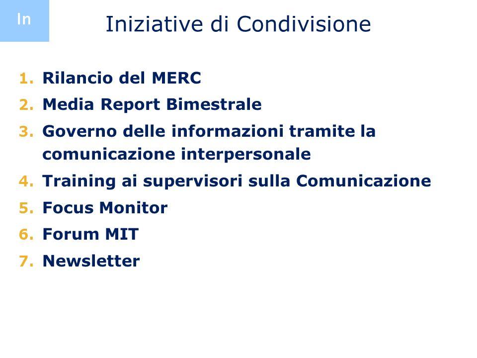 Iniziative di Condivisione 1. Rilancio del MERC 2. Media Report Bimestrale 3. Governo delle informazioni tramite la comunicazione interpersonale 4. Tr