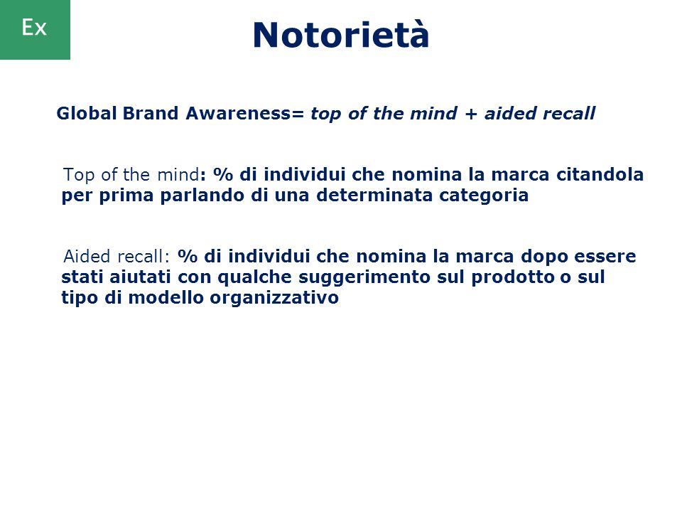 Notoriet à Global Brand Awareness= top of the mind + aided recall Top of the mind: % di individui che nomina la marca citandola per prima parlando di