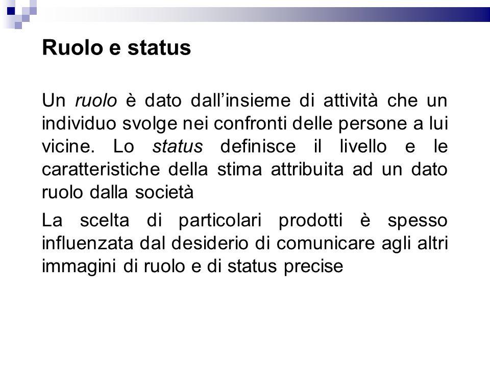 Ruolo e status Un ruolo è dato dallinsieme di attività che un individuo svolge nei confronti delle persone a lui vicine. Lo status definisce il livell