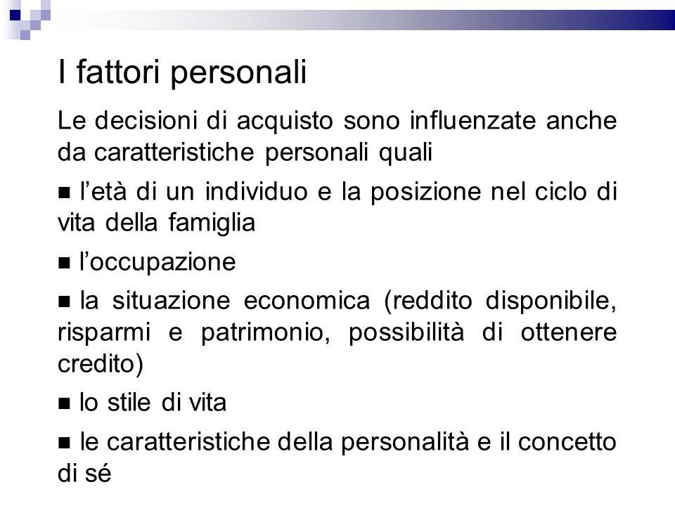 I fattori personali Le decisioni di acquisto sono influenzate anche da caratteristiche personali quali letà di un individuo e la posizione nel ciclo d