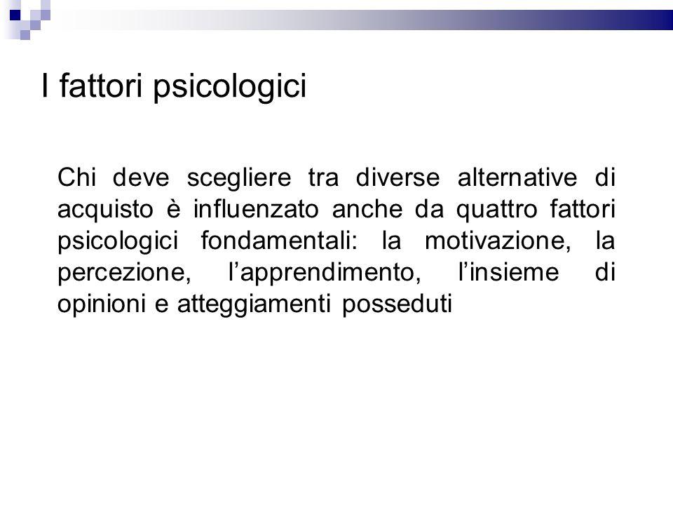 I fattori psicologici Chi deve scegliere tra diverse alternative di acquisto è influenzato anche da quattro fattori psicologici fondamentali: la motiv