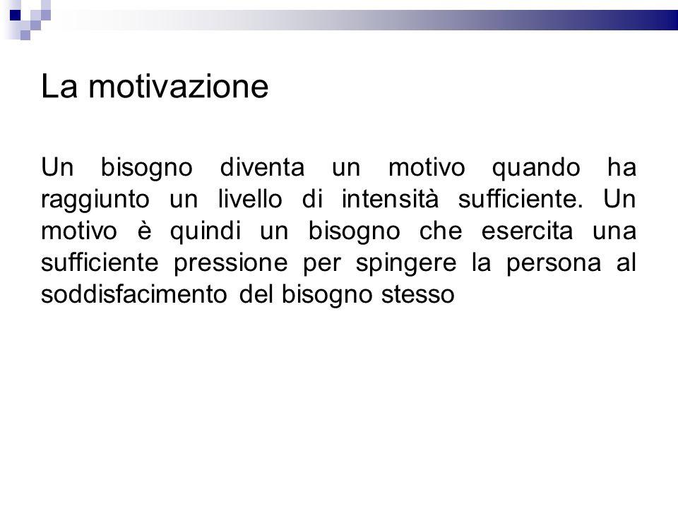 La motivazione Un bisogno diventa un motivo quando ha raggiunto un livello di intensità sufficiente. Un motivo è quindi un bisogno che esercita una su