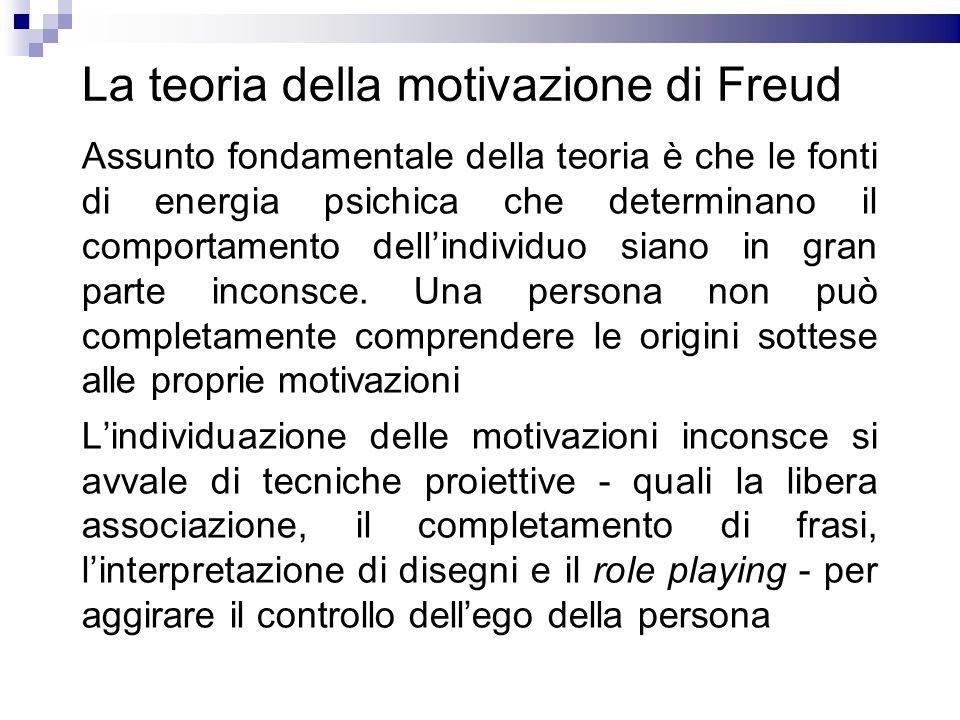 La teoria della motivazione di Freud Assunto fondamentale della teoria è che le fonti di energia psichica che determinano il comportamento dellindivid