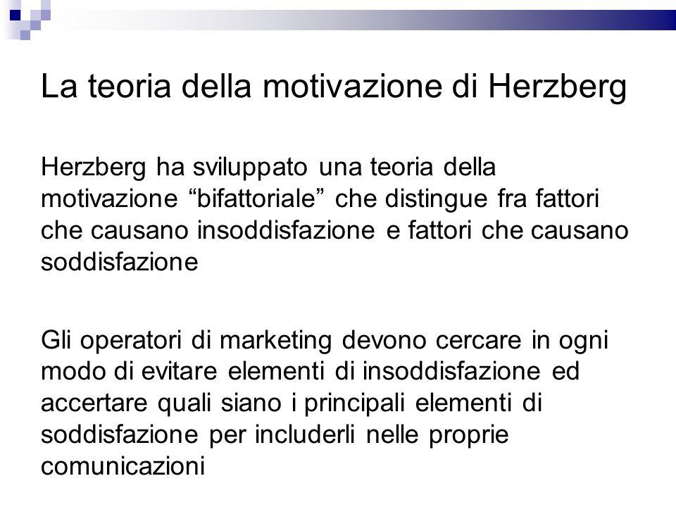 La teoria della motivazione di Herzberg Herzberg ha sviluppato una teoria della motivazione bifattoriale che distingue fra fattori che causano insoddi