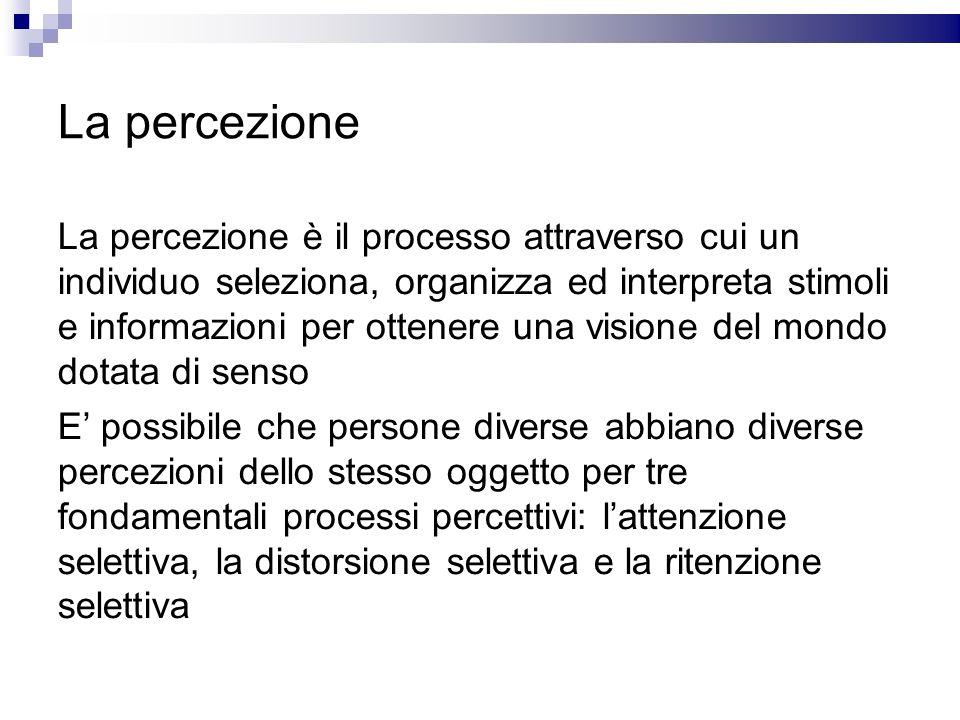 La percezione La percezione è il processo attraverso cui un individuo seleziona, organizza ed interpreta stimoli e informazioni per ottenere una visio