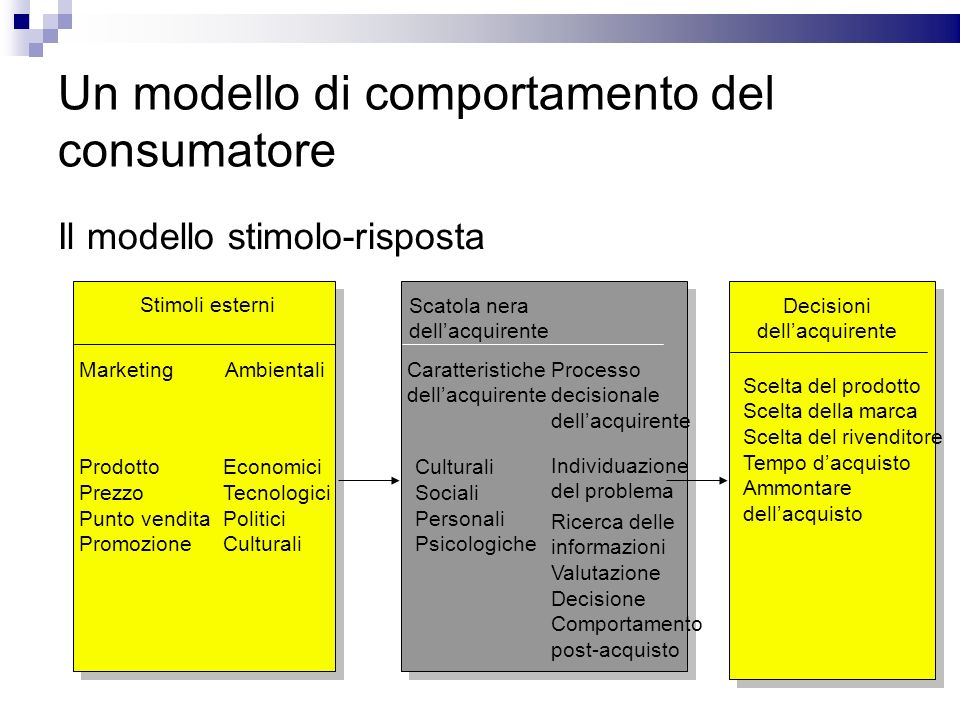 Un modello di comportamento del consumatore Il modello stimolo-risposta Stimoli esterni Scatola nera dellacquirente Decisioni dellacquirente Marketing