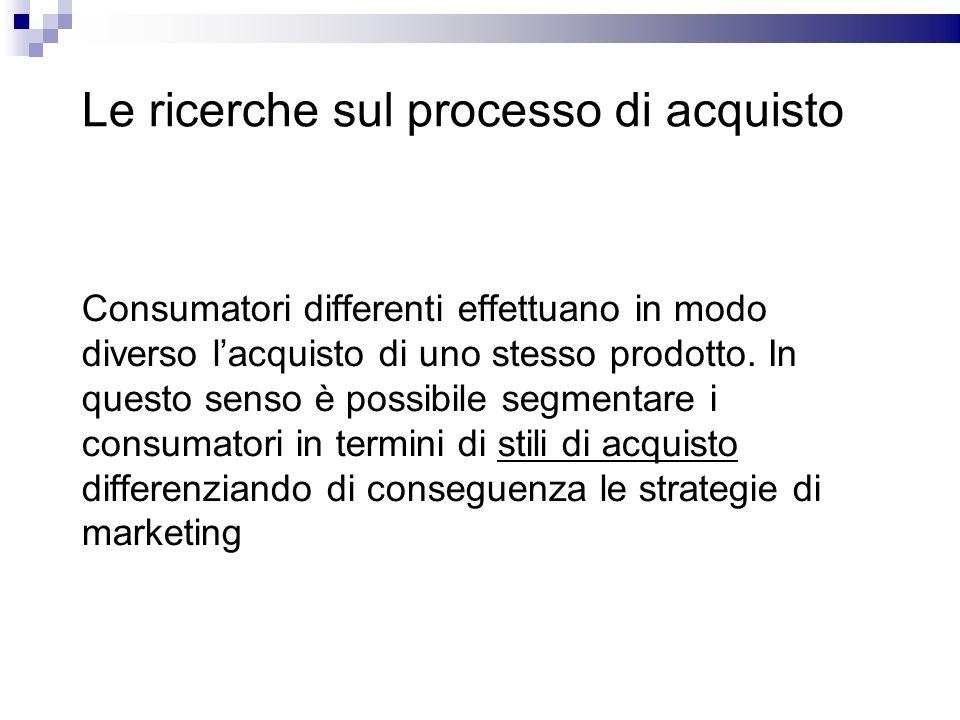 Le ricerche sul processo di acquisto Consumatori differenti effettuano in modo diverso lacquisto di uno stesso prodotto. In questo senso è possibile s