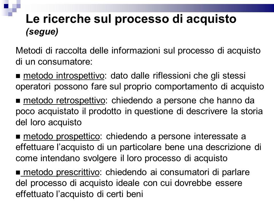 Le ricerche sul processo di acquisto (segue) Metodi di raccolta delle informazioni sul processo di acquisto di un consumatore: metodo introspettivo: d