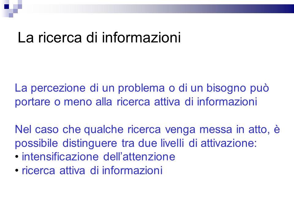 La ricerca di informazioni La percezione di un problema o di un bisogno può portare o meno alla ricerca attiva di informazioni Nel caso che qualche ri