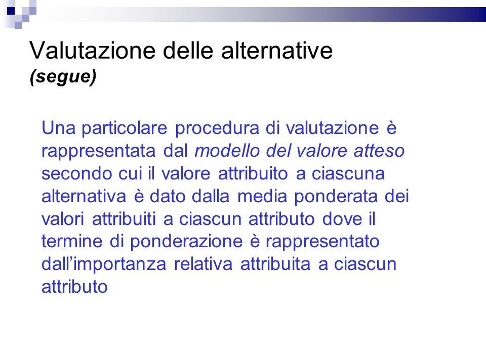Valutazione delle alternative (segue) Una particolare procedura di valutazione è rappresentata dal modello del valore atteso secondo cui il valore att