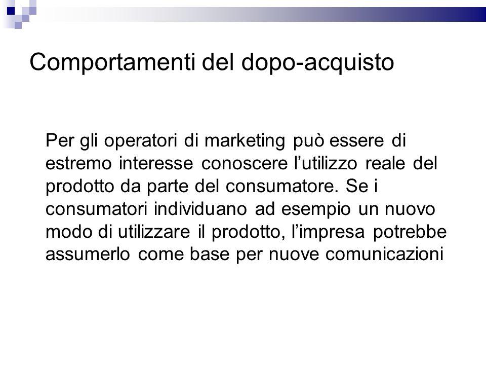 Comportamenti del dopo-acquisto Per gli operatori di marketing può essere di estremo interesse conoscere lutilizzo reale del prodotto da parte del con
