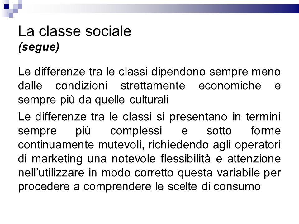 La classe sociale (segue) Le differenze tra le classi dipendono sempre meno dalle condizioni strettamente economiche e sempre più da quelle culturali