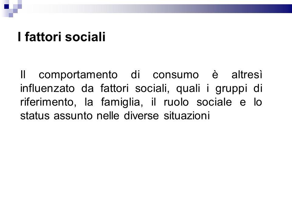 I fattori sociali Il comportamento di consumo è altresì influenzato da fattori sociali, quali i gruppi di riferimento, la famiglia, il ruolo sociale e
